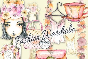 Fashion Girl clipart watercolor