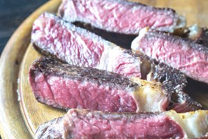Sliced beef steak