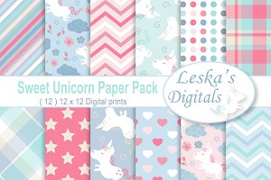 Unicorn Digital Scrapbook Papers