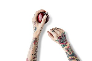 Tattoo Apple Fruit Red (PNG)