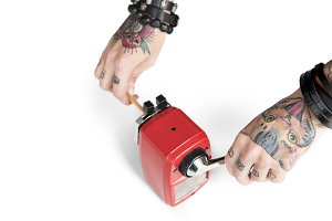 Hold hand Pencil Sharpener(PNG)