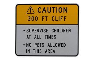 Dangerous cliff warning
