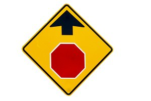 Stop sign ahead sign