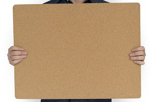 Man Holding Cork Board (PNG)