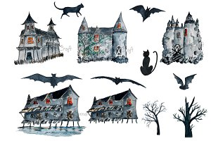 Watercolour Halloween Haunted Houses