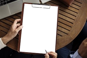 Hands Hold Paper Clipboard(PNG)