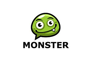 Monster Chat Cartoon Logo Template