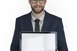 Businessman Holding Laptop (PNG)
