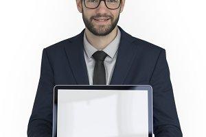 Businessman Holding Laptop (PNG)