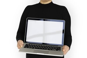 Woman Holding Laptop (PNG)