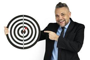 Man Bullseye Dart Board Smiling(PNG)