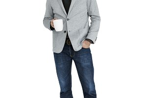 Business Man Holding Coffee (PNG)
