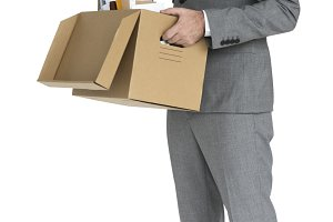 Business Man Pack Up Retrenched(PNG)