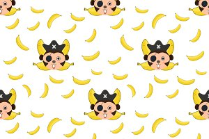 Seamless pattern Monkey and bananas