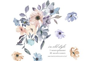 Watercolor Dusty Blue Ivory Florals