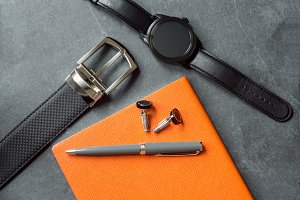 Elegant men`s business accessories