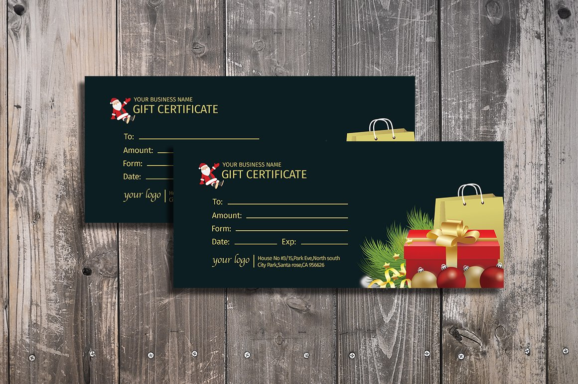 Gift certificate card card templates creative market yelopaper Gallery