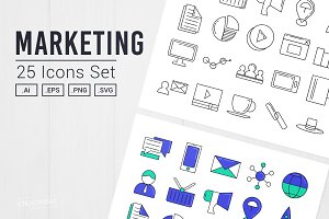 Marketing 25 Icons Set UI/UX