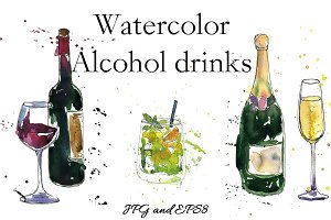 Watercolor Alcohol Drinks