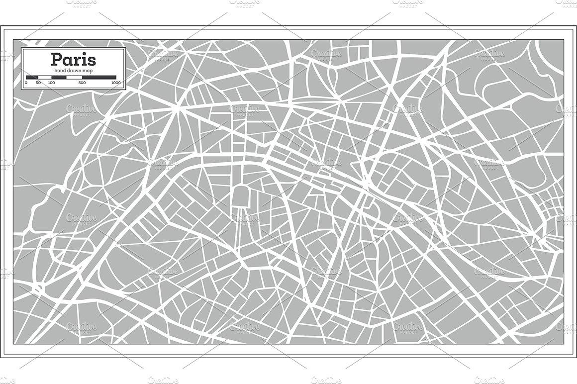 Paris Map Black And White.Paris Map In Retro Style Illustrations Creative Market