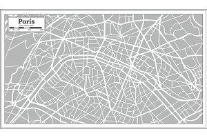 Paris Map in Retro Style.