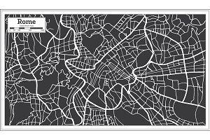 Rome Map in Retro Style.