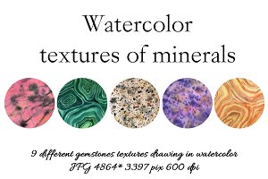 Watercoolor textures of minerals