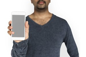 Man Holding Phone (PNG)