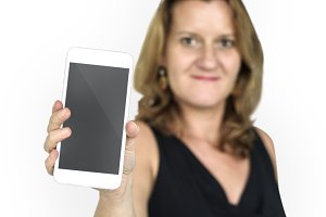 Caucasian Lady Holding Phone (PNG)