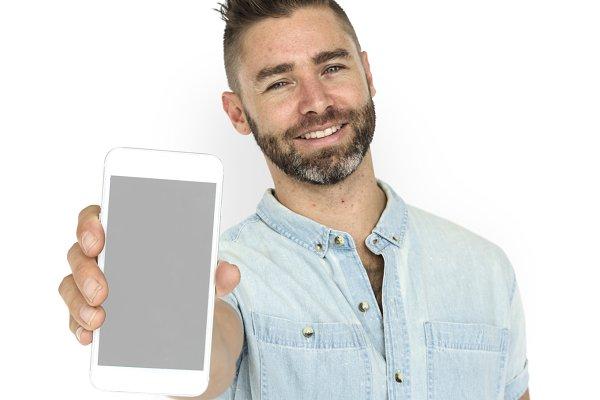 Caucasian Man Holding Phone (PNG)