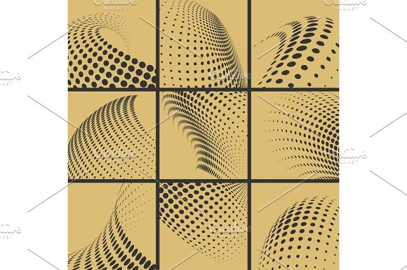 Halftone Dots Effect Background Set