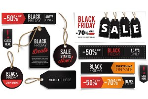 Black Friday Banners, Labels Set