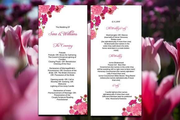 wedding ceremony program template stationery templates creative