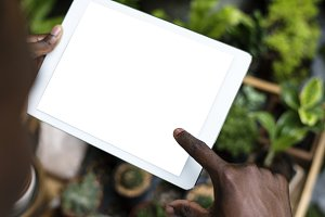 Holding a digital tablet(PNG)