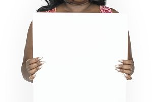 Woman Holding Blank Paper (PNG)