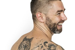 Man Back Tattoo Smiling (PNG)