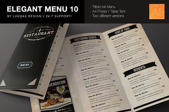 elegant food menu 10 brochure templates creative market
