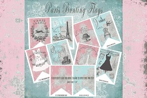 Paris France Printable Bunting Flags