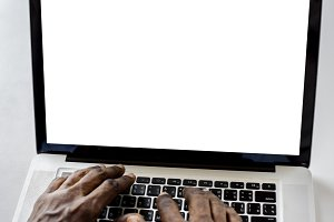 Hands working typing on laptop(PNG)