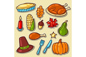 Set of Happy Thanksgiving Day holiday objects and icons