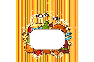 Happy Thanksgiving Day frame with holiday objects