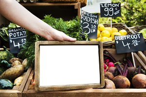 Greengrocer selling organic (PNG)