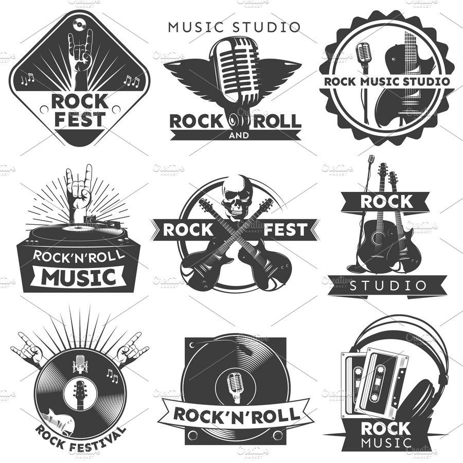 Black Isolated Music Label Set