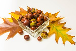 Chestnuts in a glass container