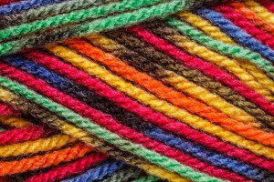 Closeup of multicolored yarn