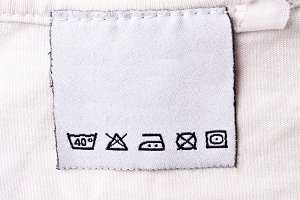 Label with laundry care symbols