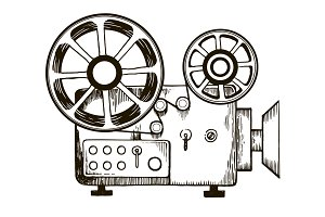 Old film projector engraving vector illustration