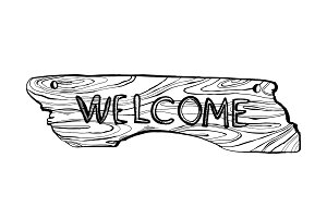 Wooden welcome plate engraving vector illustration