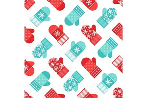 Cute winter seamless pattern with mittens in traditional colors