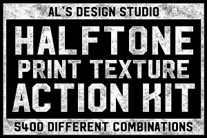 Halftone Print Texture Action Kit